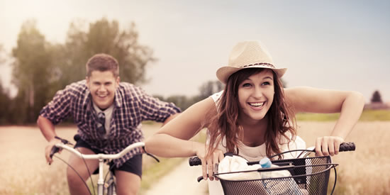Couple enjoying life on bikes